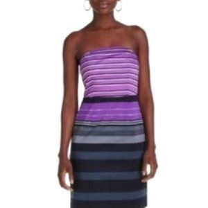 The Limited Purple Striped Strapless Dress